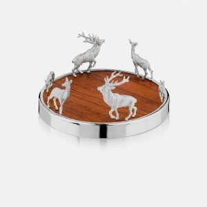 SCOTTISH SILVER Bottle Coaster - Red Stag Family