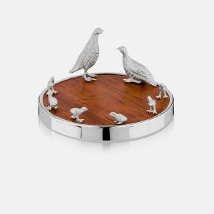 SCOTTISH SILVER Bottle Coaster - Partridge
