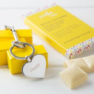 JUSTBE - Happy Engraved Key Ring & Chocolate Gift Set