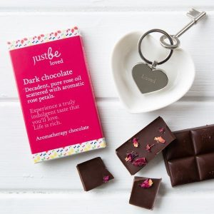 JUSTBE - Loved Engraved Key Ring & Chocolate Gift Set