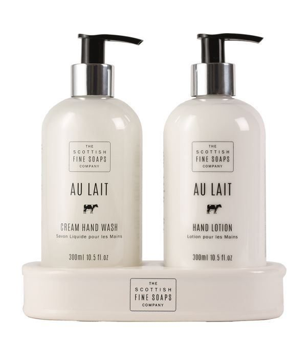 SCOTTISH FINE SOAP Au Lait Hand care set, Hand wash and Hand Lotion on porcelain base