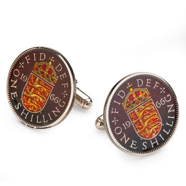 BENSON & CLEGG British One Shilling - English Arms Coin Cufflinks