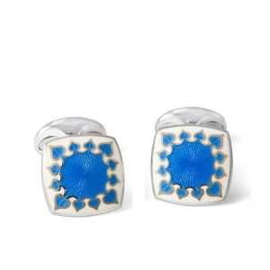 DEAKIN & FRANCIS Sterling Silver Cushion Cufflinks - Fancy Enamel Blue