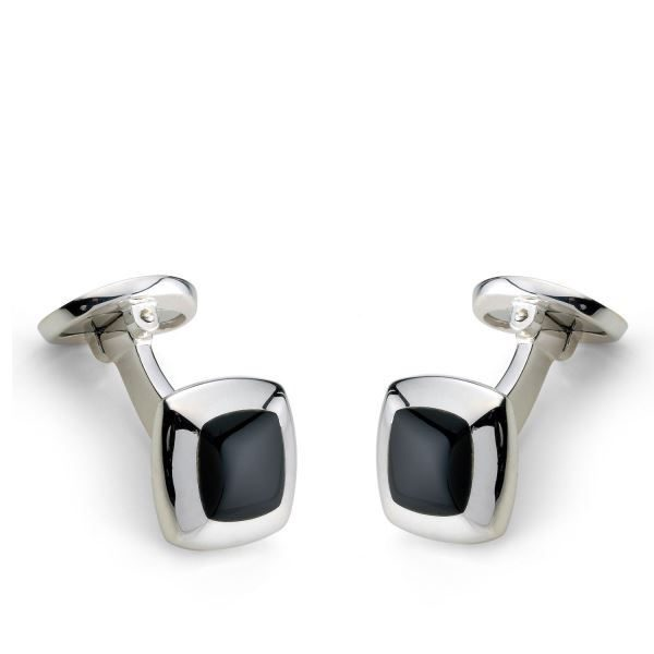 DEAKIN & FRANCIS Sterling Silver Cushion Cufflinks - Onyx Inlay