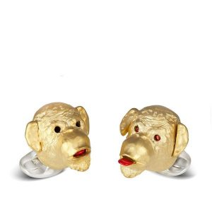 DEAKIN & FRANCIS Sterling Silver Cheeky Monkey Cufflinks - Gold Plated Head/Ruby Eyes