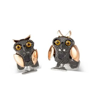 DEAKIN & FRANCIS Sterling Silver Moving Owl Cufflinks - Rose Gold