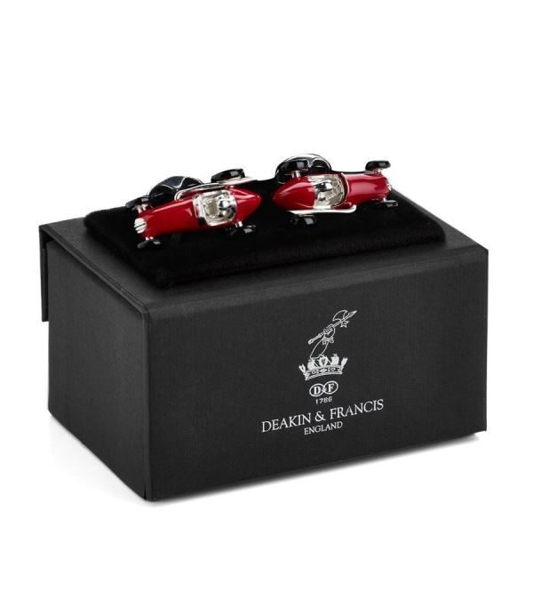 DEAKIN & FRANCIS Sterling Silver Racing Cars Cufflinks - Red