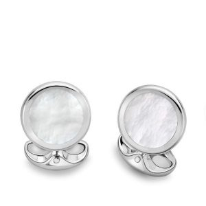 DEAKIN & FRANCIS Sterling Silver Round Cufflinks - Mother of Pearl