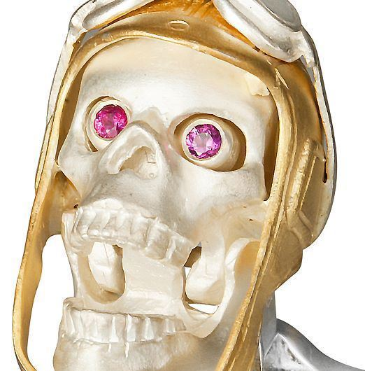 DEAKIN & FRANCIS Sterling Silver Aviator Pilot Skull Cufflinks - Gold Hat/Ruby Eyes