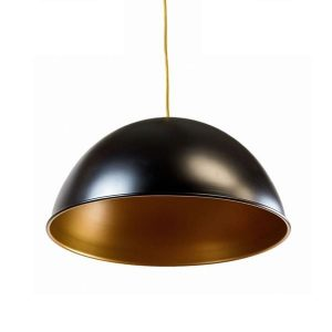 GLOW LIGHTING Frank Half Bowl Pendant - Black/Gold