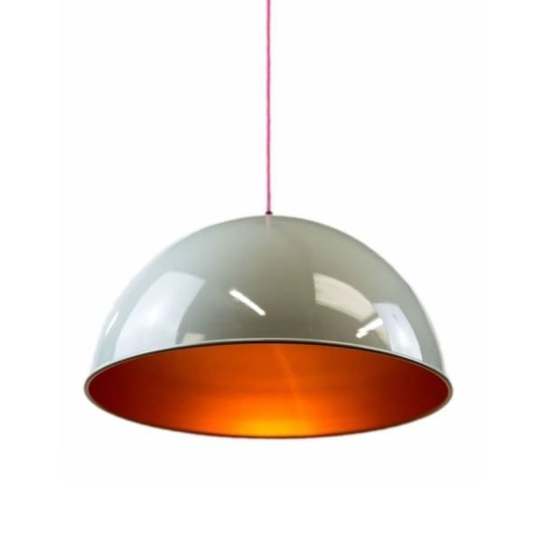 GLOW LIGHTING Frank Half Bowl Pendant - Grey/Gold