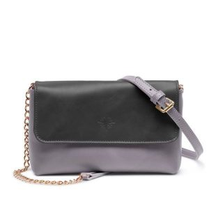 JARDINE OF LONDON The Judi Clutch Bag - Black/Dove-Grey